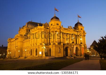 National theater in Zagreb, Croatia , night view - stock photo
