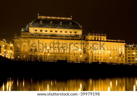 national theatre  in the night ? Prague