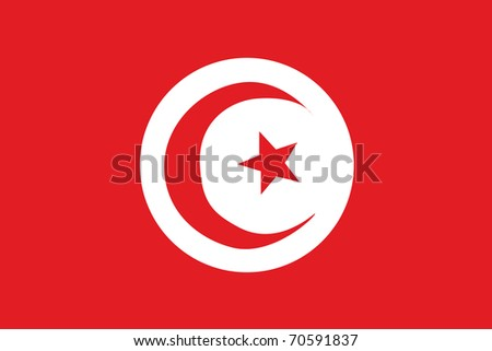 Nationalflage von Tunesien - stock photo