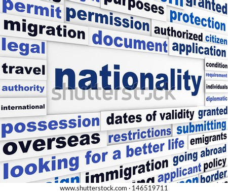 Nationality creative words conceptual background. Official document creative poster