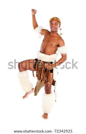 native african man dancing in studio - stock photo