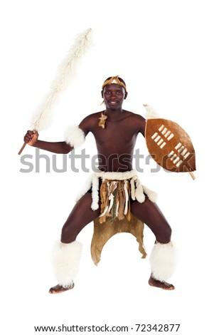 native african tribesman posing in studio - stock photo