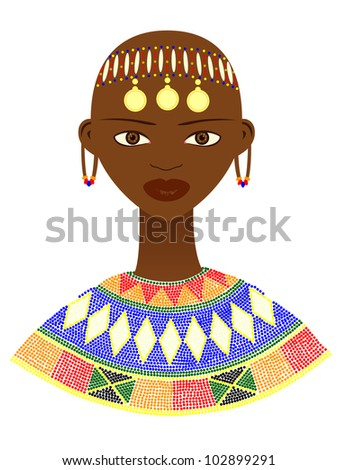 Native African woman with traditional jewelry - stock photo