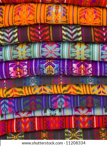 Native American Blankets in a market in chiapas, mexico - stock photo