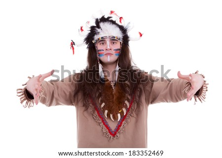 Native american chief isolated on white background. Studio shooting