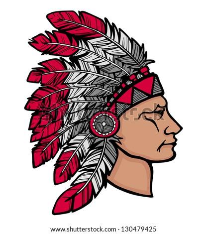 Native American chief man in tribal headdress - stock photo