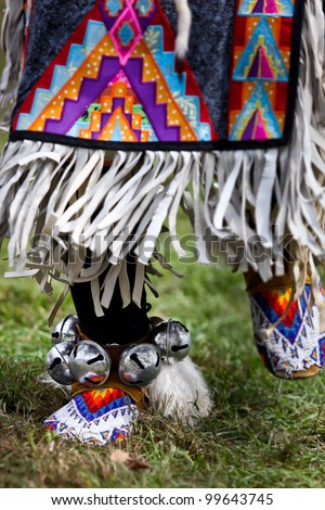 Native american dancers at a Powwow - stock photo