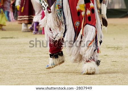 native american dancers at the annual O'Odham Tash Powwow in Casa Grande - stock photo