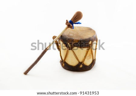 Native american drum and stick isolated on white - stock photo