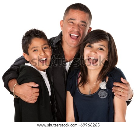 Native American father holding his children and laughing on white background - stock photo