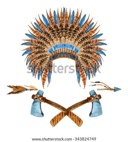 Native American Headdress. Feathered war bonnet. Watercolor indian war bonnet. Hand painted illustration - stock photo