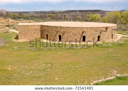 native american indian kiva reconstruction - stock photo