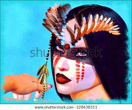 Native American Indian Woman. Her gaze inhaled the vibrant beauty of her people,colorful makeup, feathers and a beautiful face. Fantasy digital artwork  - stock photo