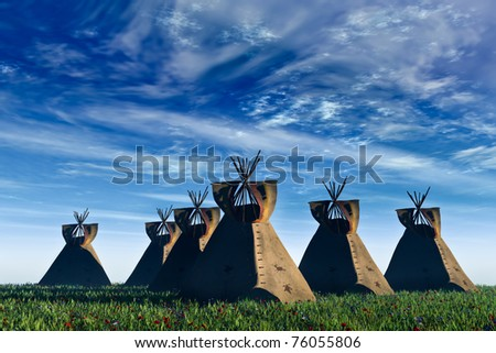 Native American landscape. Six North American Indian Tepees in a field of green grass and wildflowers against a rich blue sky  with white clouds. Original illustration - stock photo