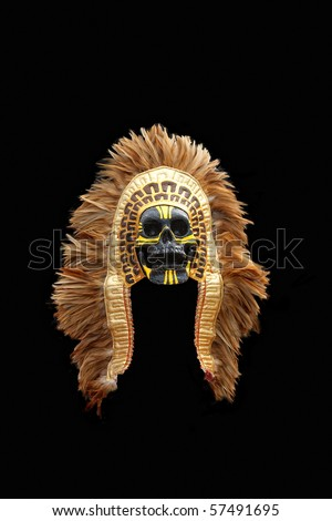 Native American Mask Isolated on Black Background - stock photo