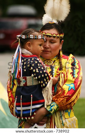 Native American mother & child - stock photo