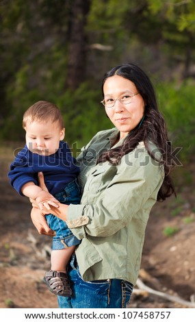 Native American mother with her mixed race son