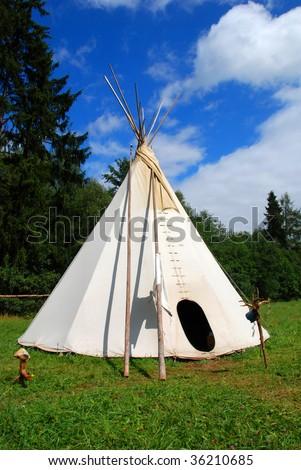 Native American shelter - teepee - stock photo