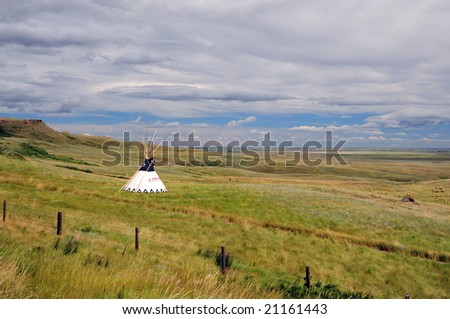 Native american tipi in front of grassland