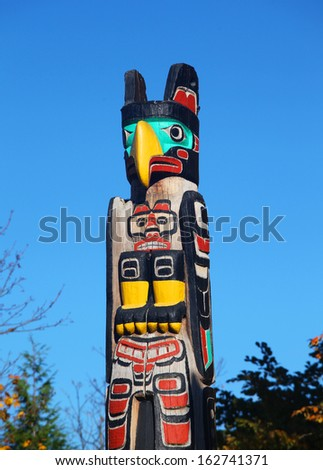 Native American totem pole - stock photo