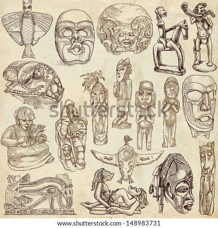 Native and old art around the world (set no.1, old paper ) - Collection of an hand drawn illustrations. Description: Full sized hand drawn illustrations drawing on old paper.