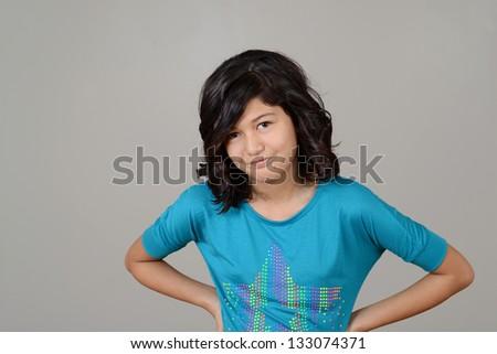 Native child with attitude - stock photo