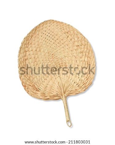 native fan made from palm leaves on white background - stock photo