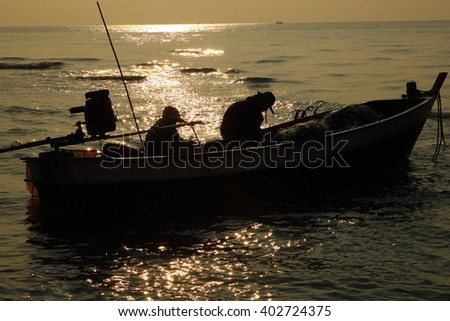 Native fishing boats Thailand - stock photo