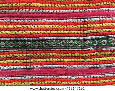 Native handicraft textile of mountain tribal village in north of Thailand