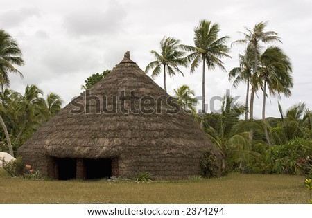 Native meeting hut made out of grass.