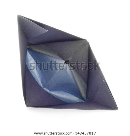 Native paper ship, origami sail boat, isolated on white background - stock photo