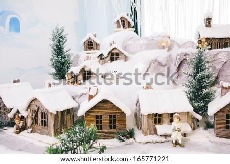 Native Scene Christmas Time - Snow - stock photo