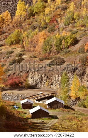 Native settlement along Tahltan River in British Columbia - stock photo