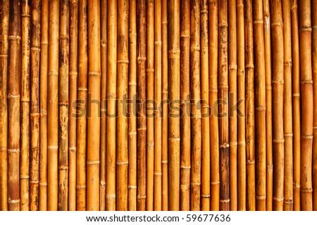 Native Thai style bamboo house wall - stock photo