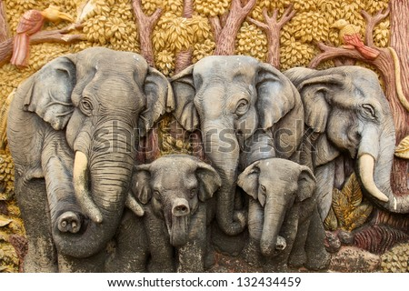 Native Thai style molding art - stock photo