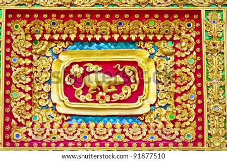 Native Thai style of rat pattern on Buddhist temple - stock photo