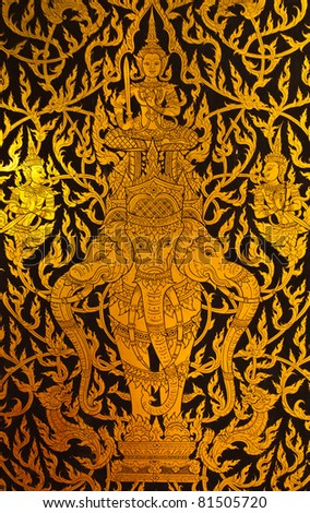 Native Thai style painting in the temple,They are public domain or treasure of Buddhism. This is traditional and generic style in Thailand. No any trademark or restrict matter in this photo. - stock photo