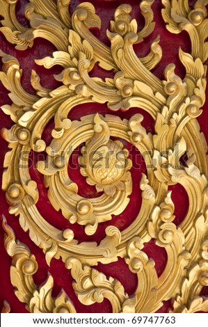 Native Thai style wood carving - stock photo