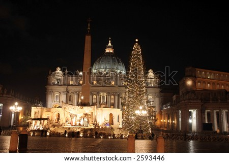 Nativity and Christmas tree in front of St. Peter's Basilica in Vatican City - stock photo