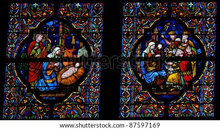 Nativity and Epiphany stained glass window in the church of Dinant, Belgium.