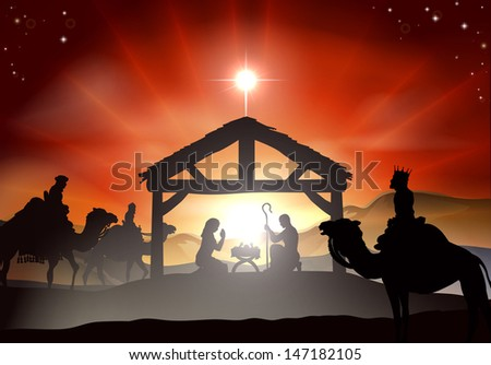 Nativity Christmas scene with baby Jesus in the manger in silhouette, three wise men or kings and star of Bethlehem - stock photo
