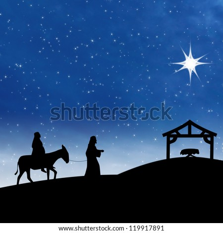 Nativity on the night of Jesus birth showing bright star and Saint Mary and Joseph - stock photo