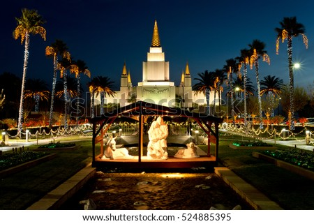 Nativity Scene at Night, Palm Trees Blowing, Christmas Holiday Lights