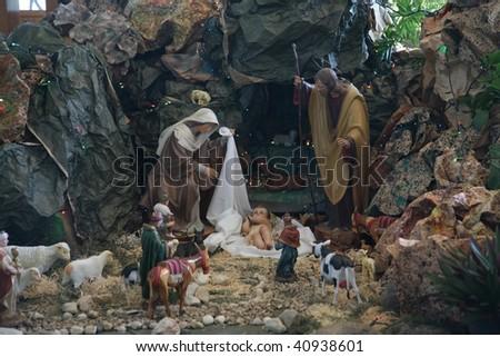 Nativity scene, Capernaum, The Church of the House of Peter - stock photo