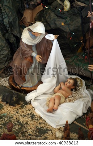 Nativity scene, Capernaum, The Church of the House of Peter - stock photo