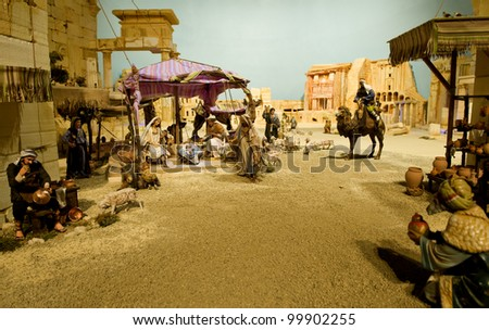 Nativity scene. Extremely detailed model displayed in an Italian church. - stock photo