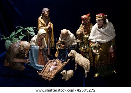 nativity scene i with three wise men - stock photo