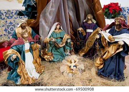 Nativity Scene in a Church - stock photo