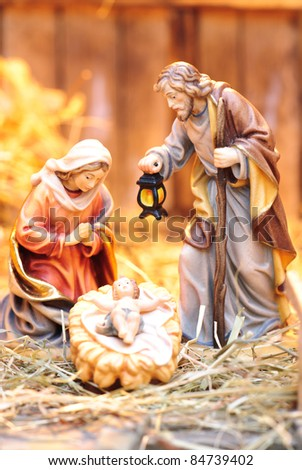 nativity scene; Jesus Christ, Mary and Josef - stock photo