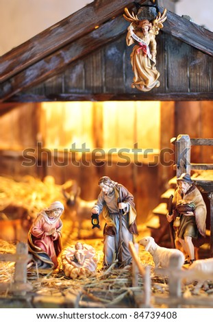 nativity scene; Jesus Christ, Mary and Josef